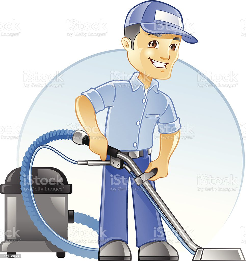 Carpet Cleaning Professional With Vacuum Stock Vector Art