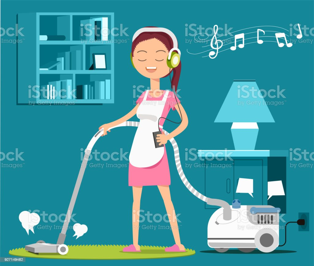 carpet cleaning with a song to relax at work stock vector art more