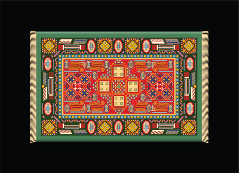 Carpet Green Red