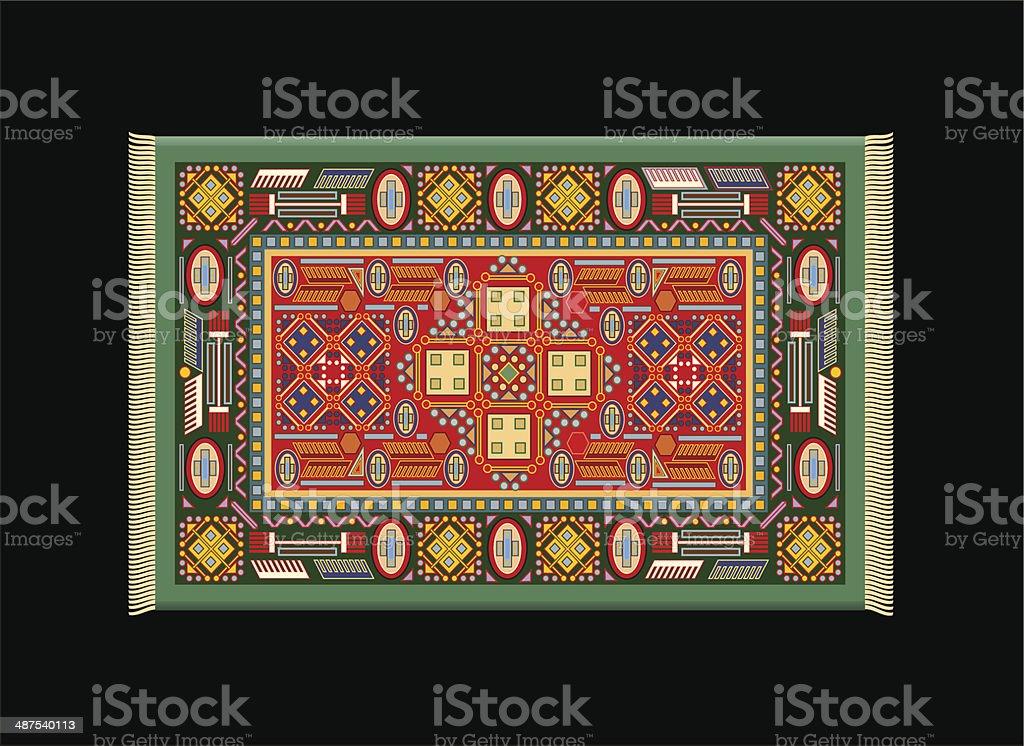 Carpet Green Red vector art illustration