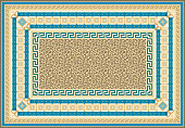Carpet print from Fashionable leopard skin pattern, Golden chains, meander borders, Baroque cables, ropes, blue belts and straps pattern on a beige background.15 pattern brushes in the brush palette