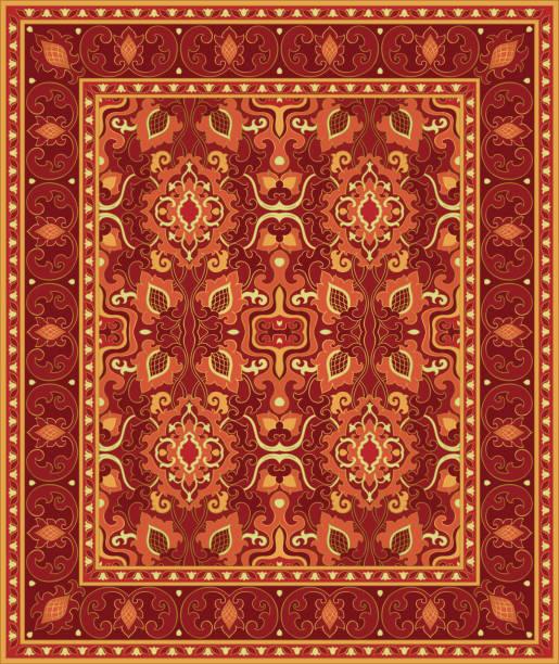 stockillustraties, clipart, cartoons en iconen met tapijt met abstracte bloemen. - turkse cultuur