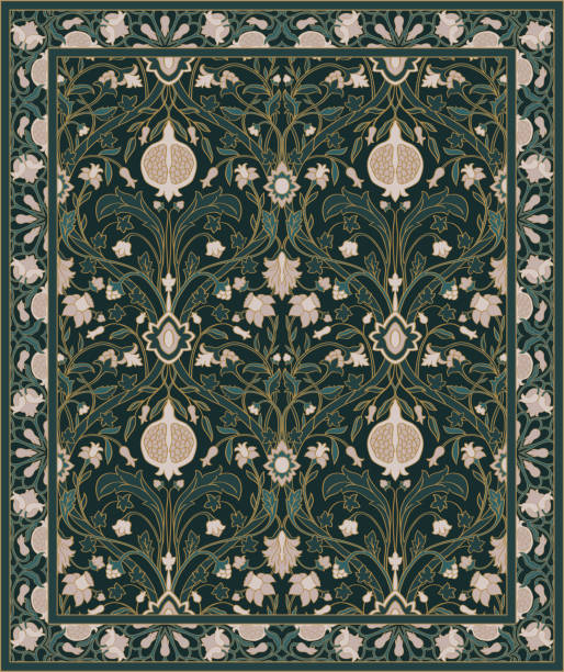 Carpet with pomegranate. Template for carpet, textile. Oriental floral ornament with pomegranate. Pattern with ornamental flowers. tapestry stock illustrations