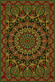 Colorful template for carpet, textile. Oriental floral pattern with pomegranate.