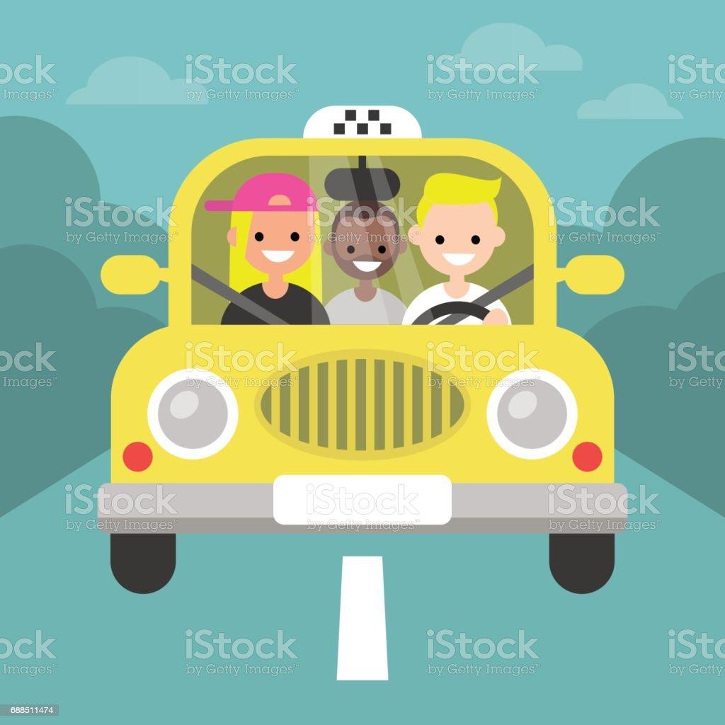 Carpool. Coche compartido. Taxi servicio / plano editable vector Ilustración, imágenes prediseñadas - ilustración de arte vectorial