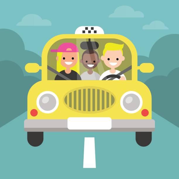 illustrations, cliparts, dessins animés et icônes de covoiturage. co-voiturage. taxi service / plat modifiable vector illustration, images clipart - covoiturage