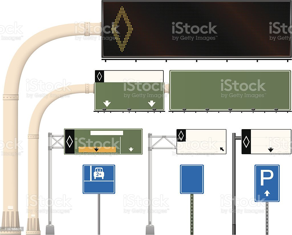 Carpool Road Signs royalty-free stock vector art