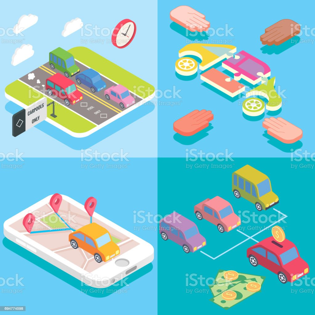 Carpool service concept in isometric style design. Vector flat 3d icons. People sharing cars. Mobile smartphone to share ride and use carpooling HOV lane. Sharing economy and collaborative consumption vector art illustration
