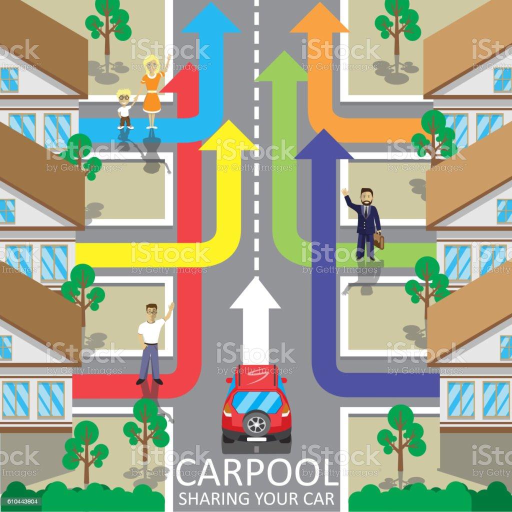 Carpool service vector illustration. Car sharing. Fellow traveler. Companions - ilustración de arte vectorial