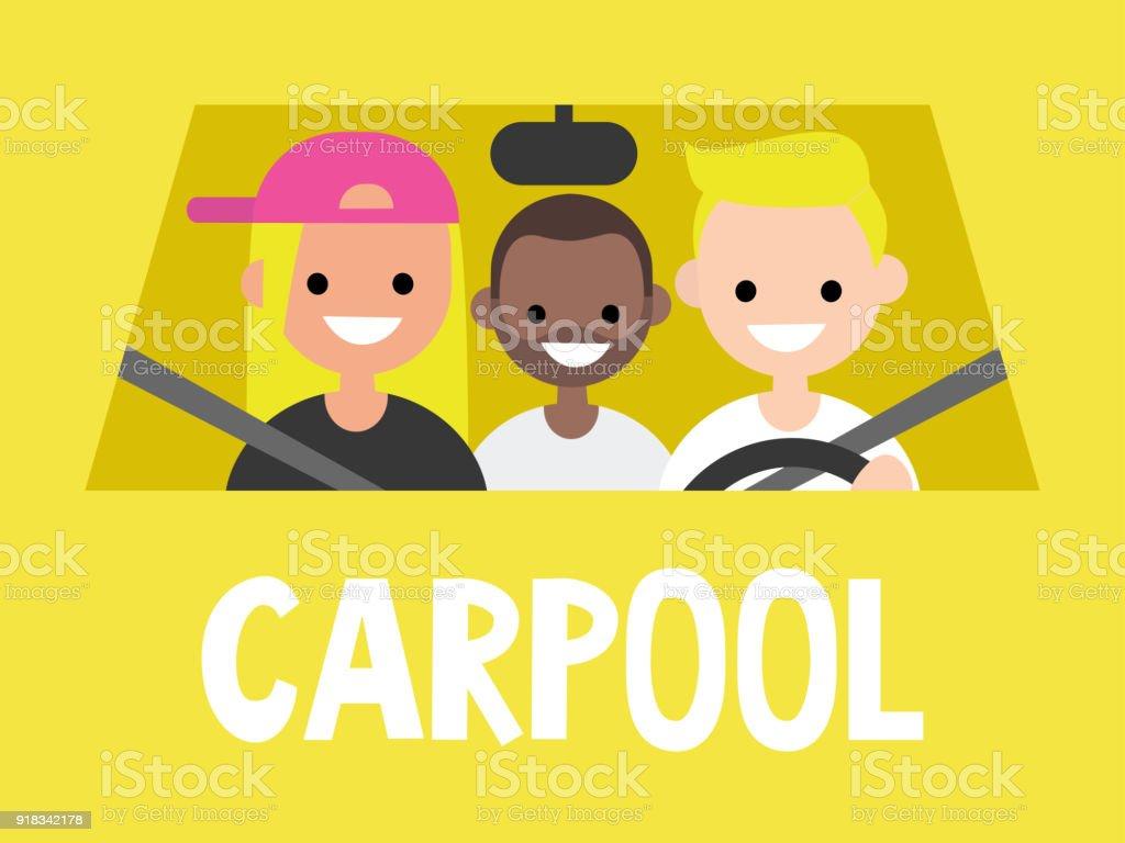 Carpool. Servicio de taxi. Conductor y los pasajeros sentados en el coche. Cerrar vista / plano ilustración vectorial editable, clip art - ilustración de arte vectorial