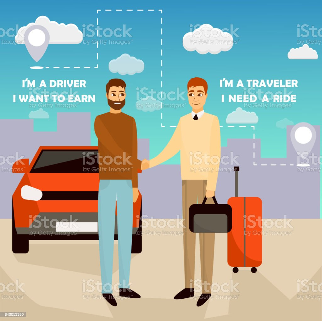 Carpooling concept vector illustration in cartoon style. Carpool and car sharing service poster. Two men shaking hands in front of the car vector art illustration