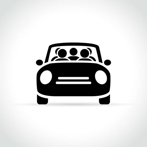 carpooling icon on white background vector art illustration