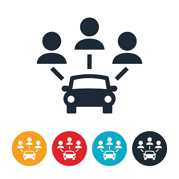 Carpooling Icon vector art illustration