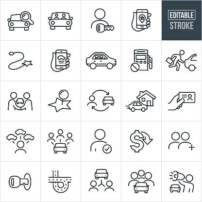 Carpooling Thin Line Icons - Editable Stroke