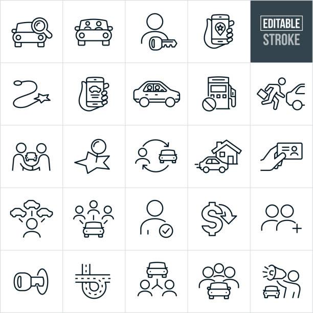 illustrazioni stock, clip art, cartoni animati e icone di tendenza di icone linea sottile carpooling - tratto modificabile - auto