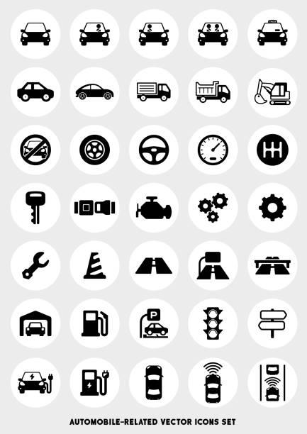 auto-bezogenen icon-set - landfahrzeug stock-grafiken, -clipart, -cartoons und -symbole