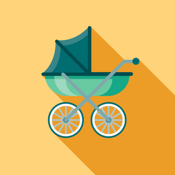 Carriage Flat Design Baby Icon vector art illustration