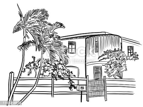 Residential building with small fence in tropical climate.  Illustration of a house with palm tree in the frontyard