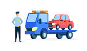 Carrier Evacuating Sedan Flat Vector Illustration. Police Officer in Uniform Cartoon Character. Law Enforcer, Lorry Transporting Automobile. Parking Rules Violation. Tow Truck Transporting Car