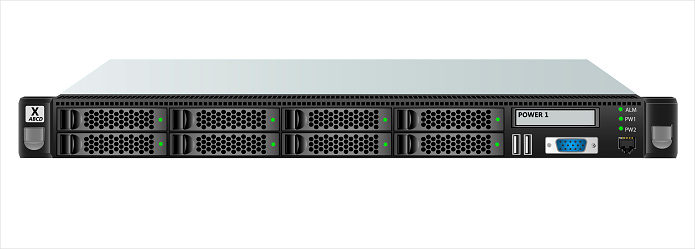 Carrier-class server size 1u with eight 2.5-inch hard drives for mounting in a 19-inch rack.