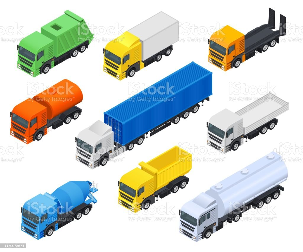 Carriers Set Of Trucksfuel And Construction Vehicles Stock