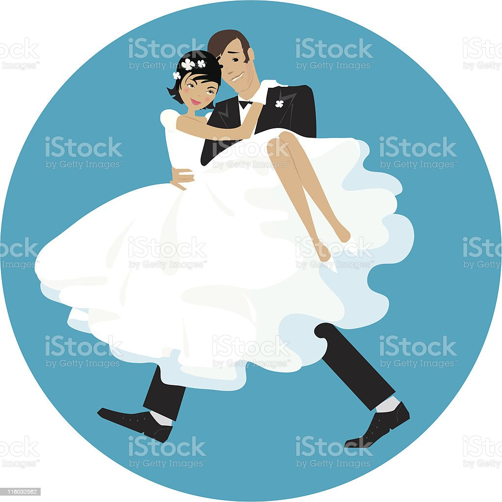 Carring the bride vector art illustration