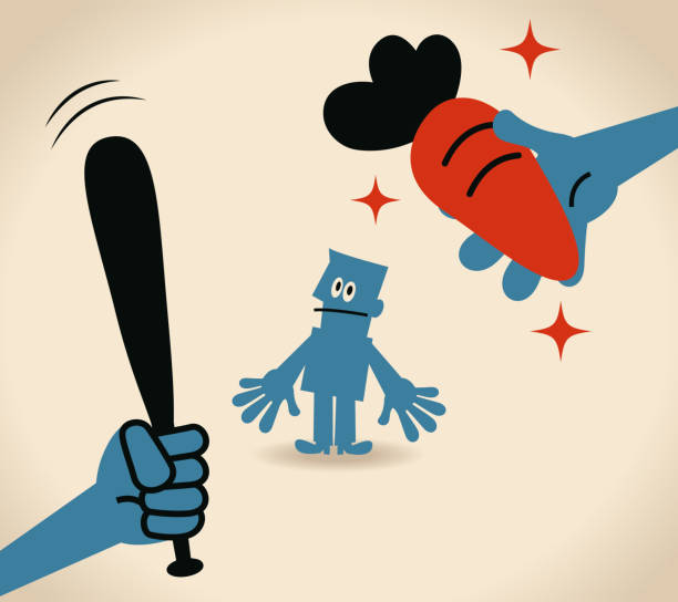 Carrot and stick Blue Little Guy Characters Full Length Vector art illustration.Copy Space. punishment stock illustrations