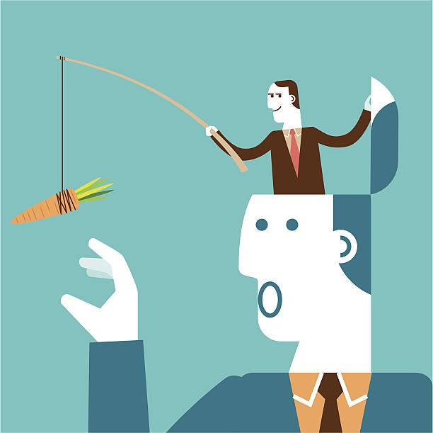 Carrot Bait for Giant Businessman   Yellow Business Concept vector art illustration