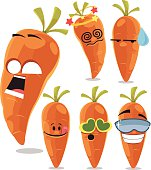 Cartoon carrot set including: