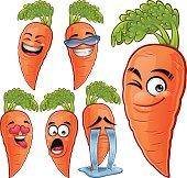 Cartoon carrot set including:
