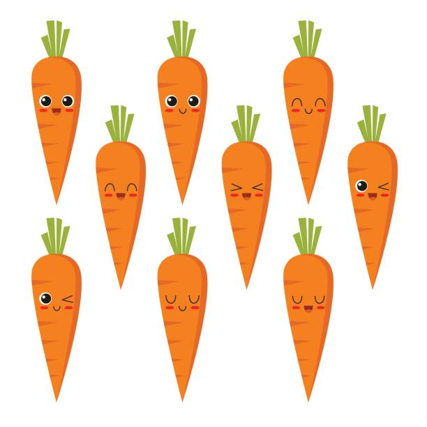 carrot character collection - carrot stock illustrations