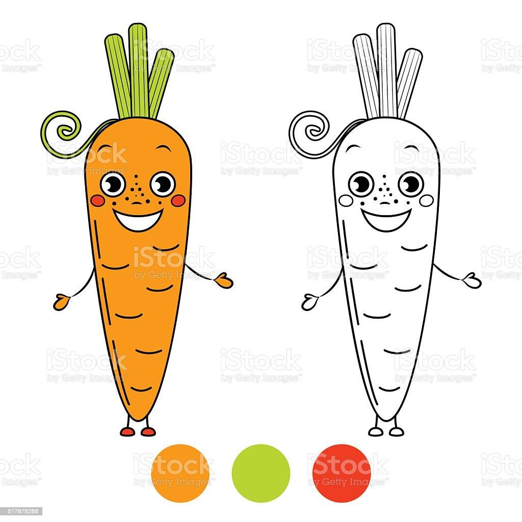 Coloriage Pomme Et Oignon Dessin Anime.Carotte Livre De Coloriage Page Illustration De Vecteur De