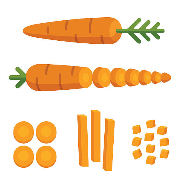 Carrot cuts illustration Different carrot cuts: sliced, cubed and cut in matchstick shape. Cooking illustration in modern flat vector style. chopped food stock illustrations