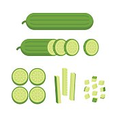 Fresh cucumber - sliced, cubed and cut in matchstick shape. Cooking illustration in modern flat vector style.