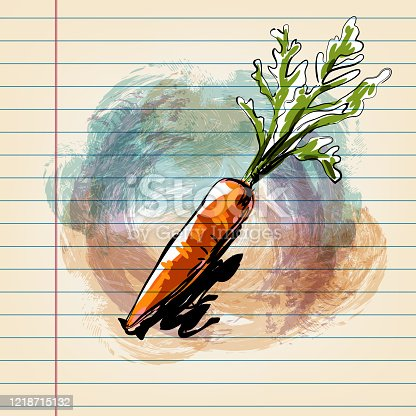 istock Carrot Drawing on Ruled Paper 1218715132