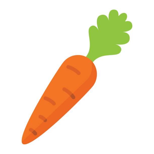 stockillustraties, clipart, cartoons en iconen met wortel platte pictogram, groente- en dieet, vector graphics, een kleurrijke vaste patroon op een witte achtergrond, eps 10. - wortel plantdeel