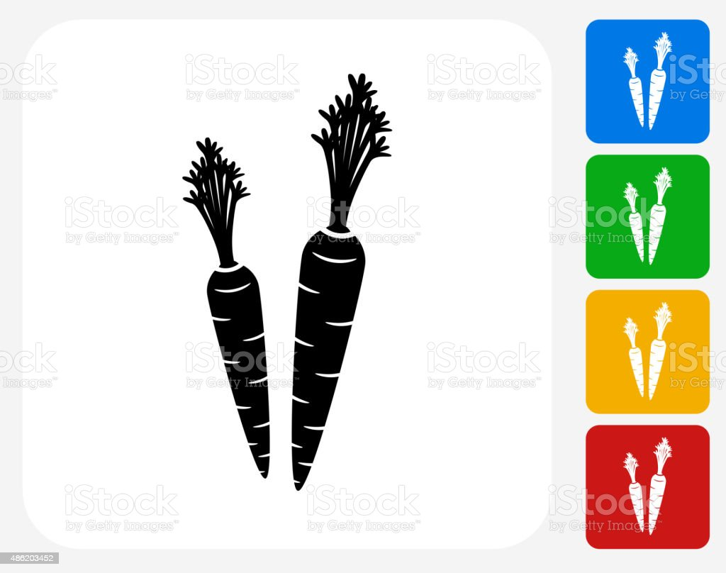Carrot Icon Flat Graphic Design vector art illustration