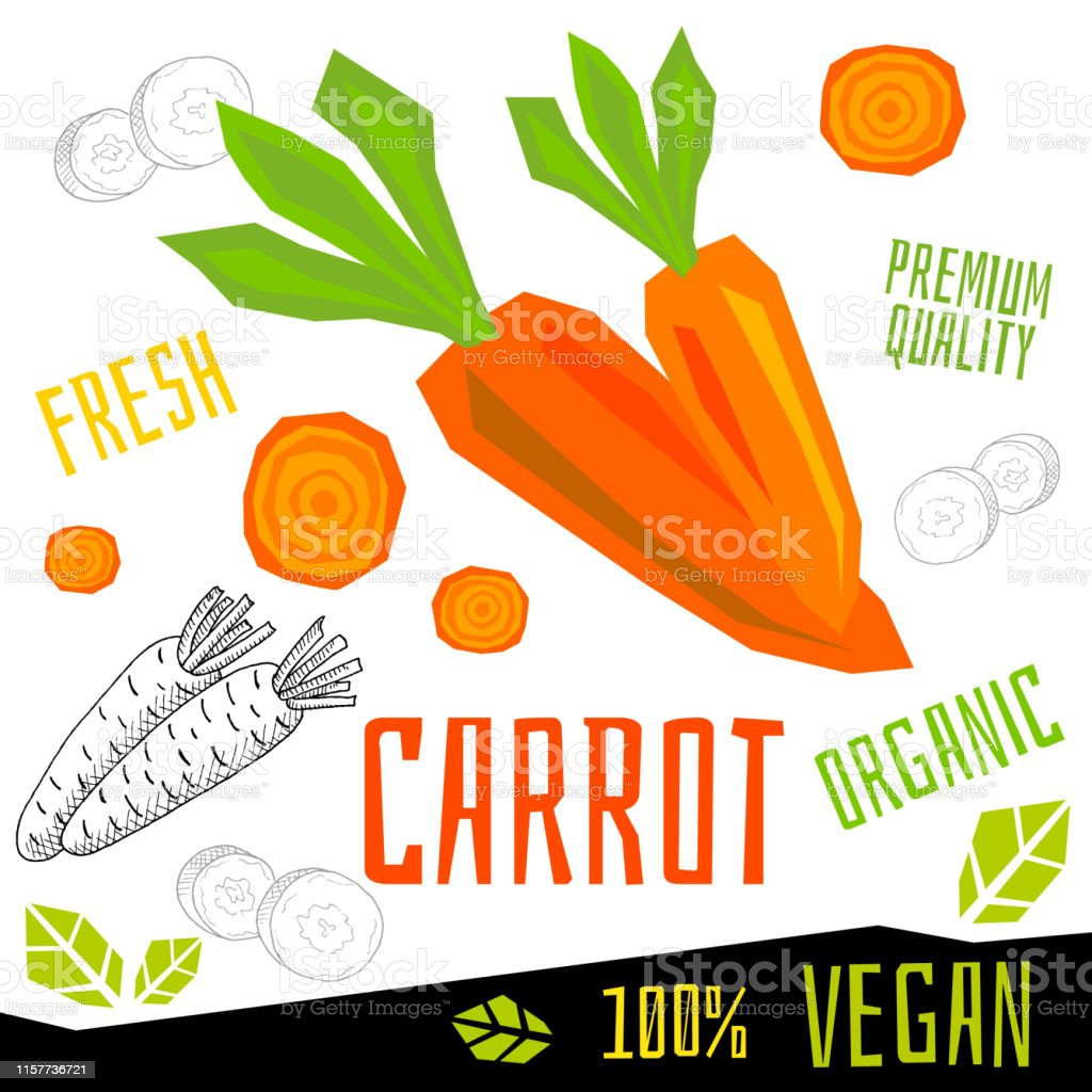 Carrot icon label fresh organic vegetable, vegetables nuts herbs...