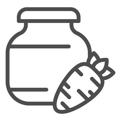 Carrot juice line icon. Glass can bank and carrot vegetable outline style pictogram on white background. Children bio food signs for mobile concept and web design. Vector graphics.