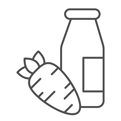 Carrot juice thin line icon. Glass bottle and eco carrot vegetable outline style pictogram on white background. Children bio food signs for mobile concept and web design. Vector graphics.