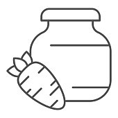 Carrot juice thin line icon. Glass can bank and carrot vegetable outline style pictogram on white background. Children bio food signs for mobile concept and web design. Vector graphics