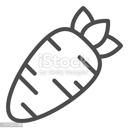 istock Carrot line icon. Healthy carrots vegetable outline style pictogram on white background. Organic vegetable eco food for mobile concept and web design. Vector graphics. 1217221106