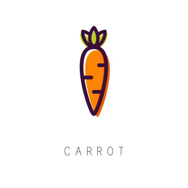 ilustrações de stock, clip art, desenhos animados e ícones de carrot logo. line icon. simple and clean style. vector - cenoura