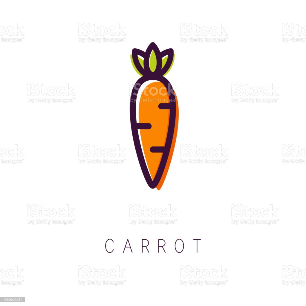 Carrot logo. Line icon. Simple and clean style. Vector vector art illustration