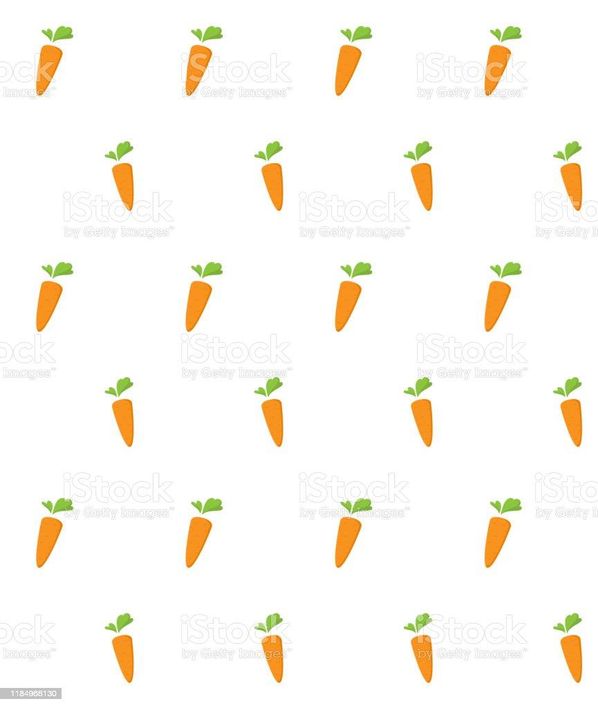 平らなオレンジ野菜漫画の食品イラストとニンジンシームレスパターン