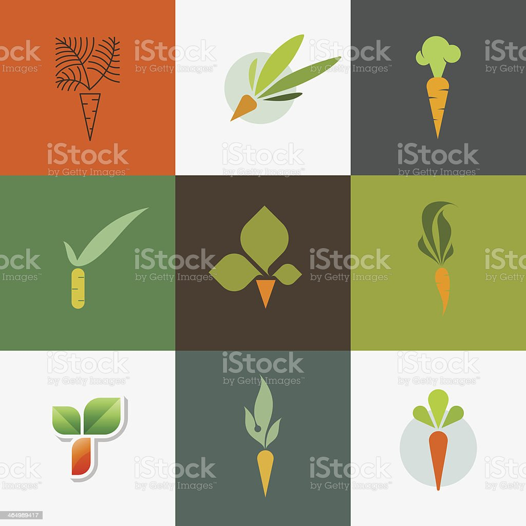 Carrot. Set of decorative design elements royalty-free carrot set of decorative design elements stock vector art & more images of agriculture
