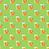Carrot Smoothie Seamless Pattern