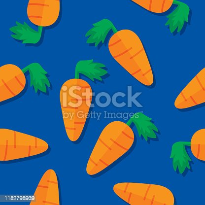 Vector illustration of carrots in a repeating pattern against a blue background.