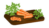 Carrots with leaves and slices on a wooden cutting board. Round carrot slices. Vector realistic illustration 3d. EPS