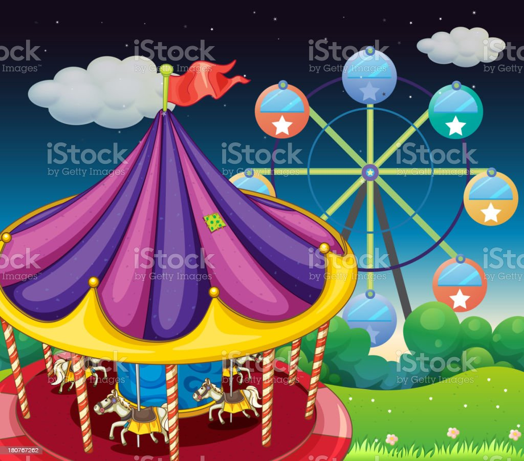 carrousel with ferris wheel at the back royalty-free stock vector art